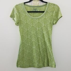 Prana Breathe Green Damask Patterned Cap Sleeve